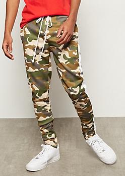Camo Print Side Striped Track Pants
