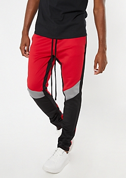 Red Chevron Colorblock Track Pants