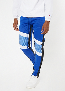 Blue Herringbone Colorblock Track Pants