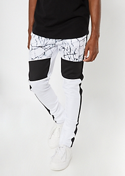 White Marble Print Side Striped Track Pants