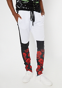 Black Rose Print Colorblock Track Pants