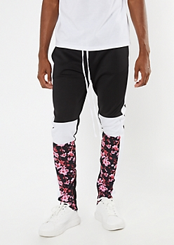 Black Cherry Blossom Colorblock Track Pants