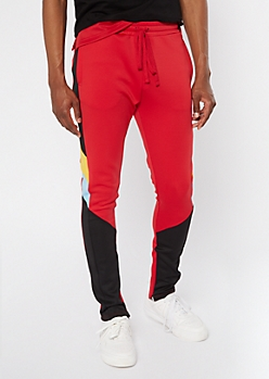 Red Colorblock Pattern Track Pants