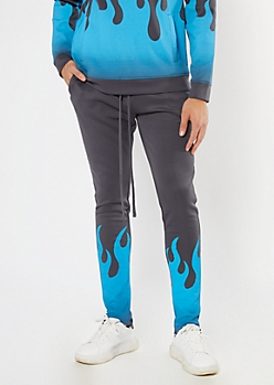 Gray Ombre Flame Graphic Joggers