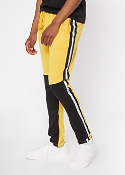 Yellow Colorblock Reflective Side Striped Track Pants