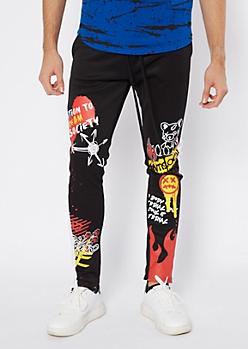Black Side Striped Graffiti Track Pants