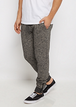 Charcoal Gray Marled Knit Zippered Joggers