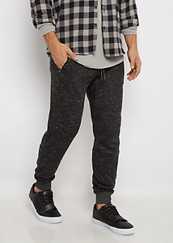 Black Speckled Fleece Joggers