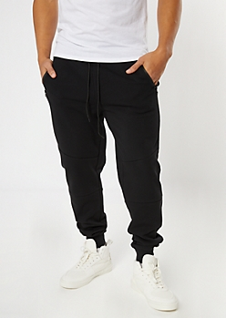 Black Zipper Pocket Knit Athletic Joggers