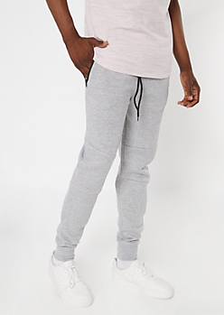 Heather Gray Zipper Pocket Knit Athletic Joggers