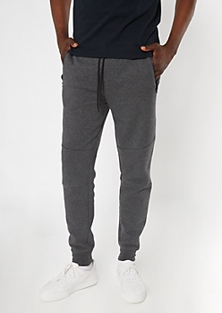 Charcoal Gray Zipper Pocket Knit Athletic Joggers