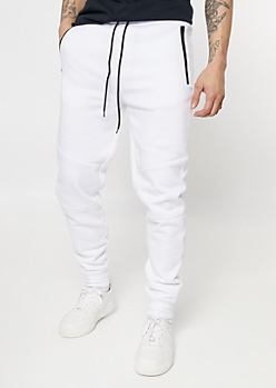 White Zipper Pocket Knit Athletic Joggers