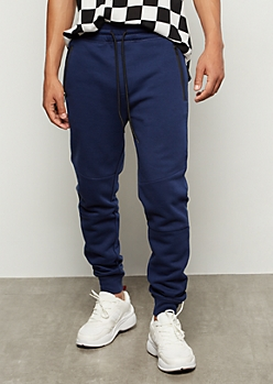Navy Zipper Pocket Athletic Joggers