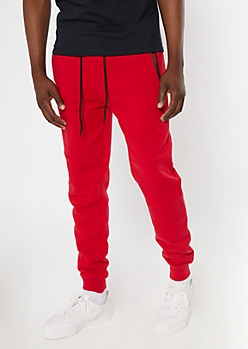 Red Zipper Pocket Athletic Joggers