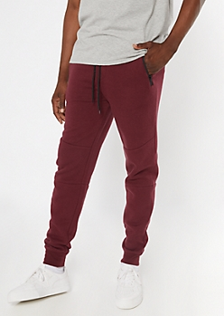 Burgundy Zipper Pocket Athletic Joggers