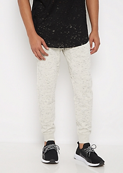 White Marled Soft Knit Joggers