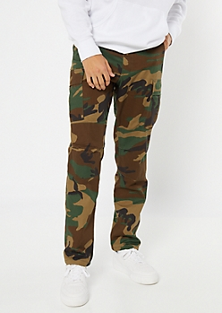 Camo Print Button Up Cargo Pants