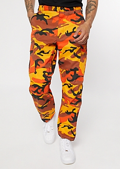 Rothco Orange Camo Print Tactical Cargo Pants