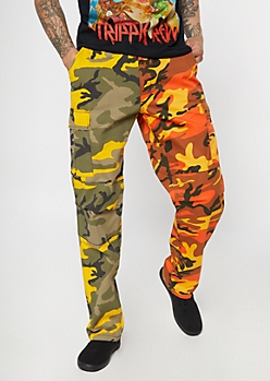 Rothco Split Orange Camo Print Tactical Cargo Pants