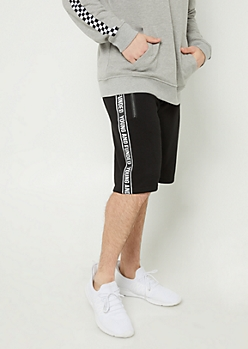 Young and Funded Black Knit Shorts