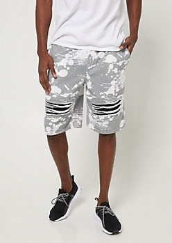 Gray Splatter Paint Print Shredded Knit Shorts