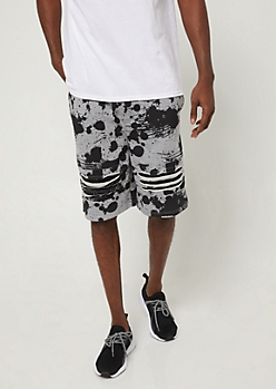 Black Splatter Paint Print Shredded Knit Shorts