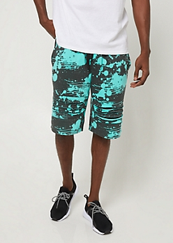 Mint Splatter Paint Print Shredded Knit Shorts