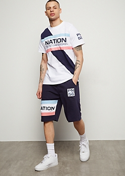Parish Nation Navy Retro Colorblock Active Shorts