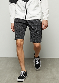 Black Space Dye Reflective Fleece Shorts