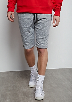 Gray Space Dye Reflective Fleece Shorts