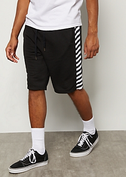 Black Caution Tape Side Striped Active Shorts
