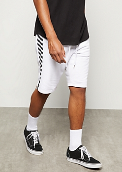 White Caution Tape Side Striped Active Shorts