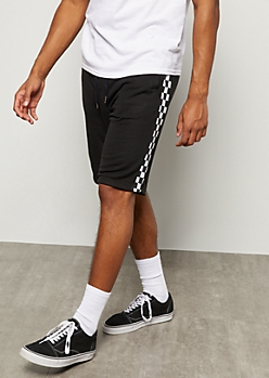 Black Checkered Print Side Striped Active Shorts