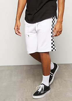 White Checkered Print Side Striped Active Shorts