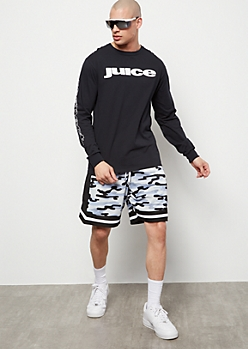 Blue Camo Print Mesh Shorts