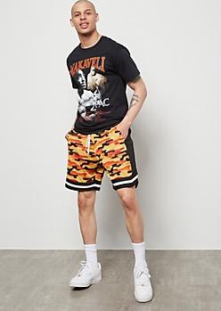 Orange Camo Print Mesh Shorts