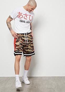 Camo Print Mesh Shorts
