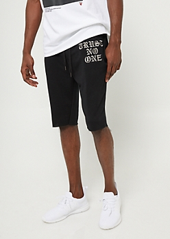Black and Silver Trust No One Sweatpant Shorts