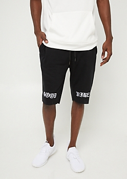 Black Good Vibes Knit Shorts