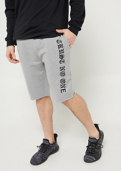 Gray and Black Trust No One Sweatpant Shorts