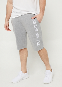 Gray and White Trust No One Sweatpant Shorts