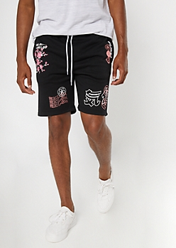 Black Kanji Doodle Print Sweat Shorts