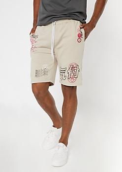 Sand Kanji Doodle Print Sweat Shorts