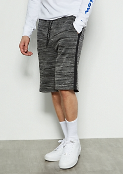 Black Space Dye Side Striped Active Shorts