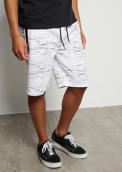 White Space Tie Tech Pocket Active Shorts