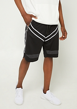 Black Contrast Stripe Pattern Mesh Shorts