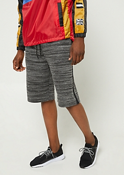Heather Black Varsity Stripe Knit Shorts