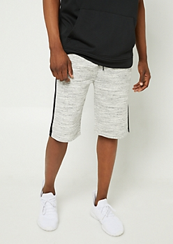 Heather Gray Varsity Stripe Knit Shorts