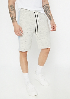 Gray Marled Side Striped Fleece Shorts