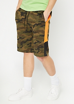 Camo Print Side Striped Knit Active Shorts